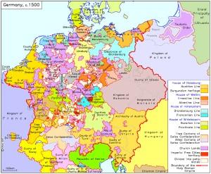 Carta della Germania nel XVI sec. Per tutto il medioevo e fino all'avvento di Hitler la Germania si trovò essenzialmente frammentata in regioni in contrasto tra loro.