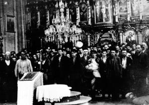 Un'altra immagine di una conversione forzata di serbi al Cattolicesimo a Glina