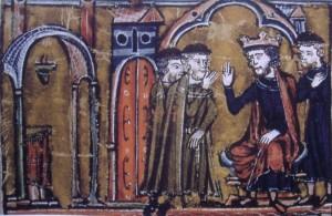 Baldovino II con i fondatori dell'ordine dei Cavalieri templari Hugues de Payns e Goffredo di Saint-Omer