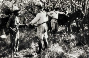 Percy Fawcett with Raleigh Rimell and one of their guides shortly before the expedition vanished.