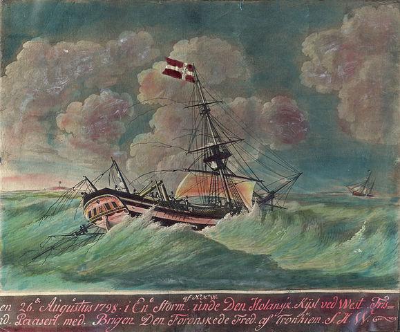 "Brigg ""Den Forønskede Fred"" of Trondhjem Norway on its way to Frisland under a storm in 1798."