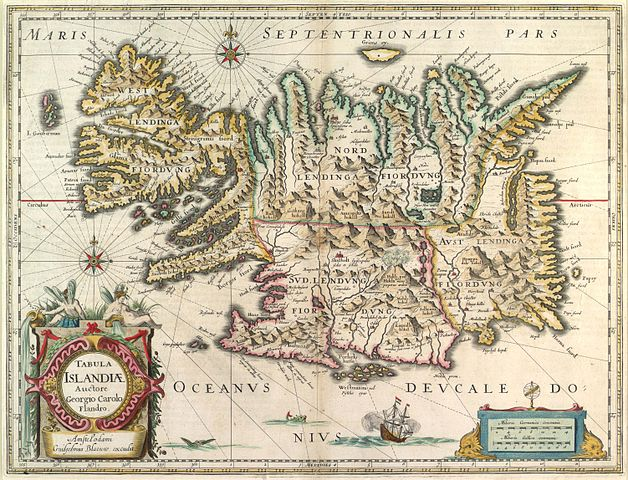 Map of Iceland  by Willem Janszoon Blaeu (1630) National and University Library of Iceland (Public Domain)